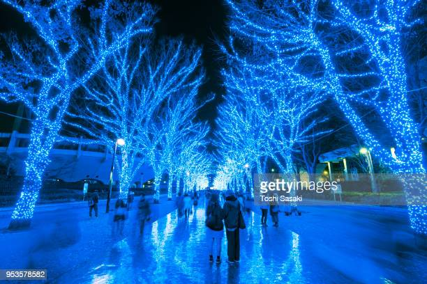 People are walking down and taking photos in the Blue Cave (Ao No Dokutsu) Keyaki Namiki (Zelkova tree–lined), which are illuminated by million of blue LED lights at Yoyogi Park Shibuya Tokyo Japan on 07 December 2017. Blue LED reflects to the path.