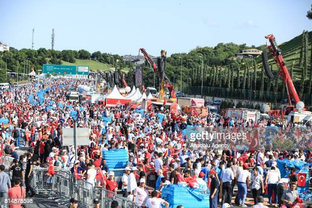 People arrive at 15 July Martyrs Bridge during the July 15 Democracy and National Unity Day in Istanbul Turkey on July 15 2017 249 people were...