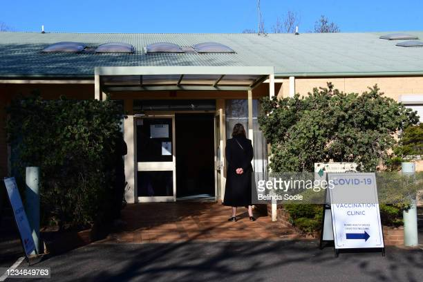 People arrive at a vaccination centre in West Dubbo as positive cases grow on August 13, 2021 in Dubbo Australia. Dubbo regional council has entered...