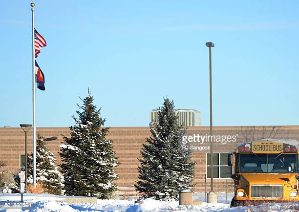 People arrive at Mountain Vista High School in Highlands Ranch, December 2015. Douglas County School District will speak later today about a threat...