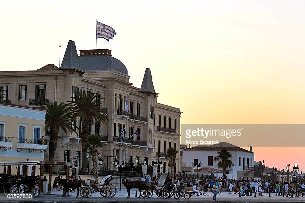 People arrive at Prince Nikolaos and Tatiana Blatnik's pre-wedding reception at the Poseidon Hotel on August 24, 2010 in Spetses, Greece.The small...