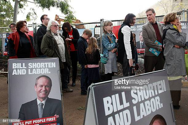 People arrive at the Australian Labor Party 2016 Federal Campaign Launch at the Joan Sutherland Performing Arts Centre on June 19 2016 in Sydney...