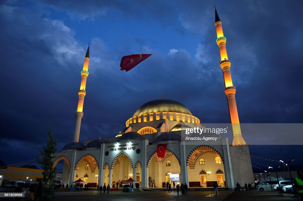 People arrive at the newly opened Fevzi Mercan Mosque during the celebrations for Mawlid al-Nabi, the birth anniversary of Muslims' beloved Prophet Mohammad, in Kayseri, Turkey on November 29, 2017.