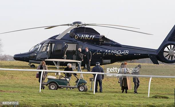 People arrive by helicopter ahead of the first race during the 2016 Coral Welsh Grand National at Chepstow Racecourse on December 27 2016 in Chepstow...