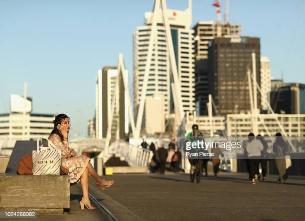 People arrive during New Zealand Fashion Week 2018 at Viaduct Events Centre on August 27 2018 in Auckland New Zealand