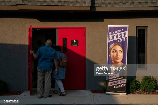 People arrive for a town hall event for Alexandria OcasioCortez Democratic candidate running for New York's 14th Congressional district September 19...