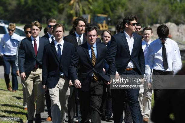 People arrive for the funeral service for Marjory Stoneman Douglas High School shooting victim Meadow Pollack at Congregation Kol Tikvah on Friday...