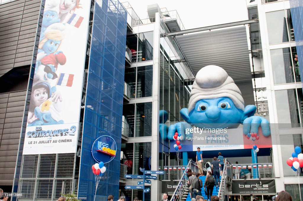 People arrive for the 'Smurfs 2' premiere at UGC Cine Cite Bercy on July 28, 2013 in Paris, France.