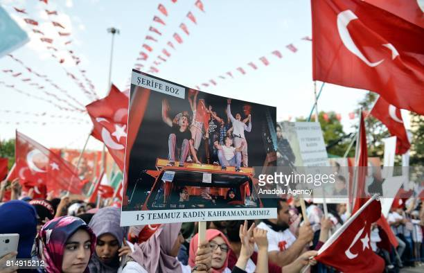 People arrive to attend July 15 Democracy and National Unity Day's events to mark July 15 defeated coup's 1st anniversary in Eskisehir Turkey on July...