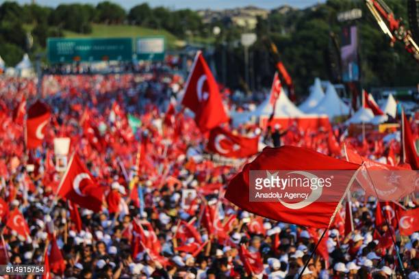 People arrive to attend July 15 Democracy and National Unity Day's events to mark July 15 defeated coup's 1st anniversary at July 15 Martyrs Bridge...