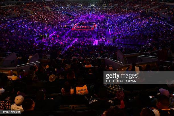 People arrive to attend the Celebration of Life for Kobe and Gianna Bryant service at Staples Center in Downtown Los Angeles on February 24 2020 Kobe...