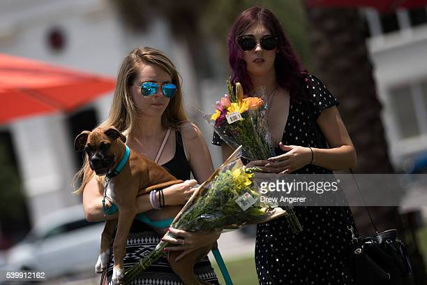 People arrive to lay flowers at a makeshift memorial at Dr Phillips Center for the Performing Arts on June 13 2016 in Orlando Florida The shooting at...