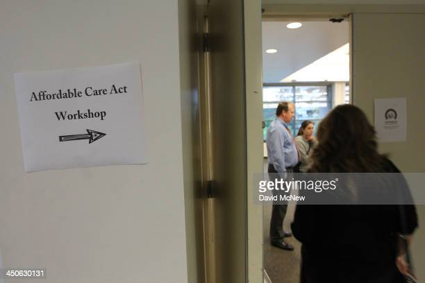 People arrive to the free Affordable Care Act Enrollment Fair at Pasadena City College on November 19, 2013 in Pasadena, California. The event,...
