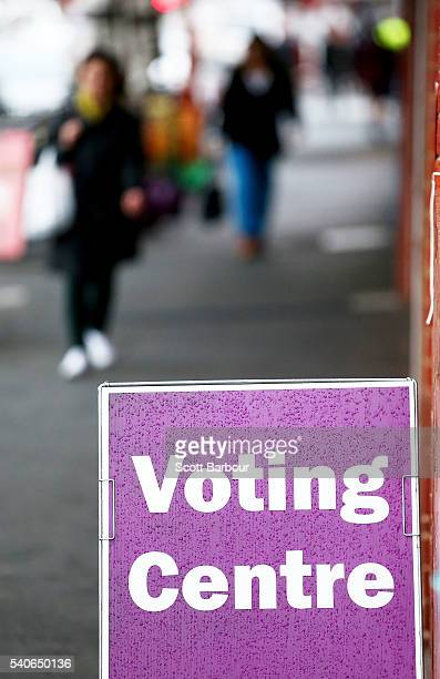 People arrive to vote at a prepoll voting centre for the 2016 federal election on June 16 2016 in Melbourne Australia PrePoll voting centres opened...