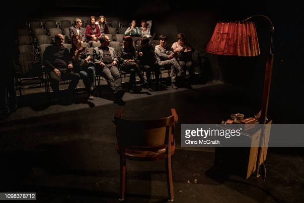 People arrive to watch actress Zsofia Szamosi perform in the play Pali at the Jozsef Katona Theatre on January 18 in Budapest Hungary The play is...