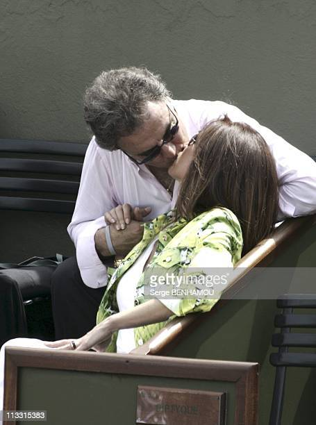 People At 2005 Roland Garros Tennis Tournament On May 26Th 2005 In Paris France Here Alain Afflelou And His Wife Exclusive