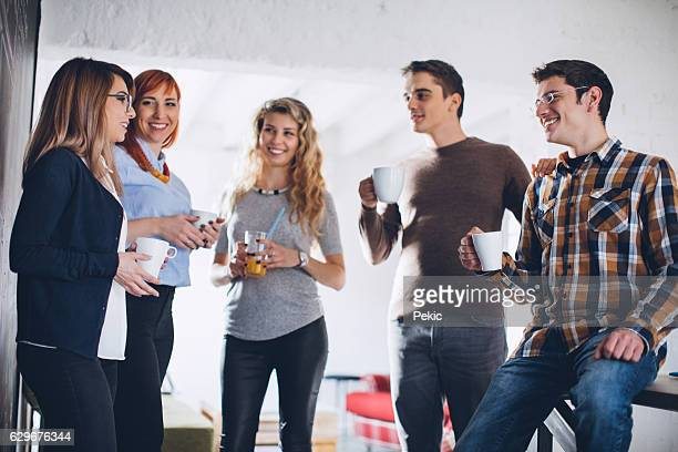 People at a creative office taking a break