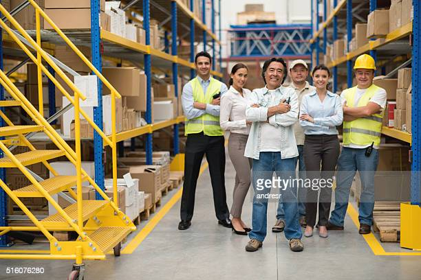 People at a distribution warehouse