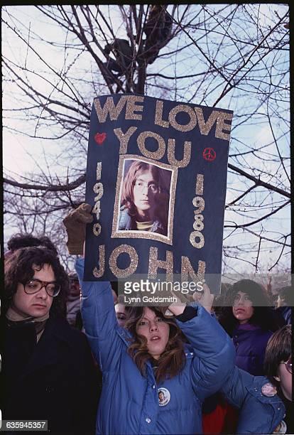 People at a John Lennon Vigil