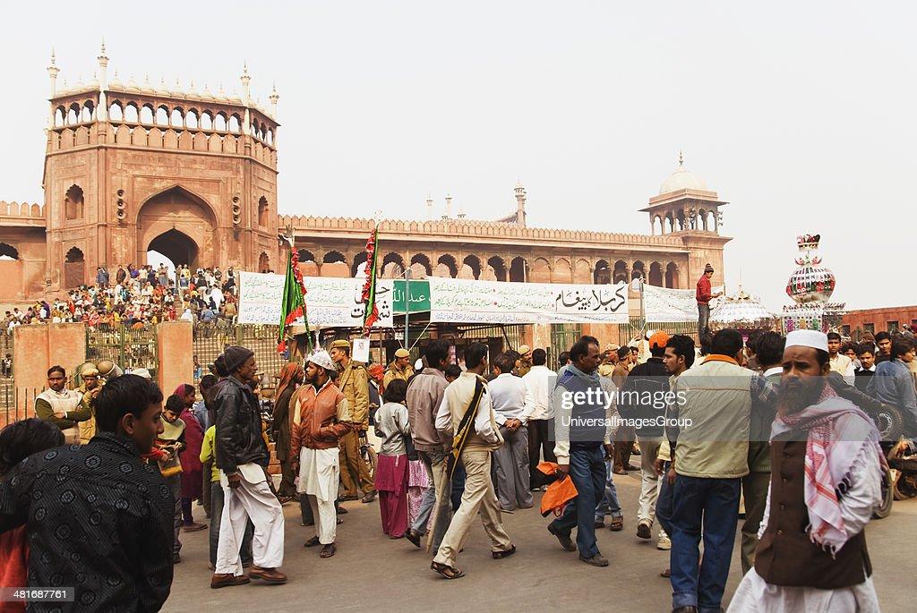 People at a mosque during Muharram, Jama Masjid, Delhi, India : News Photo
