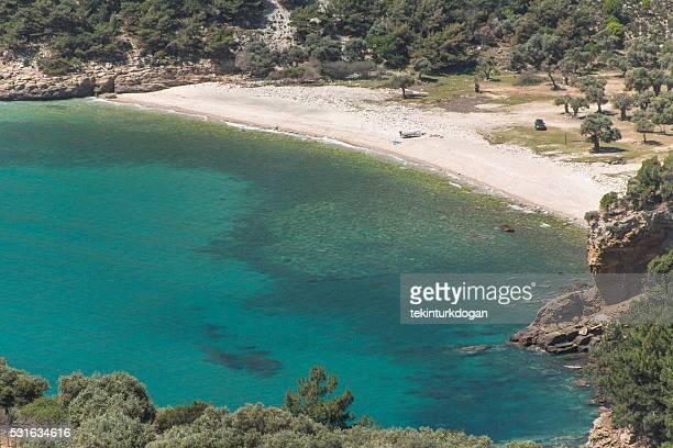 people at aegean sea coast near thassos island kavala greece - thasos stock photos and pictures