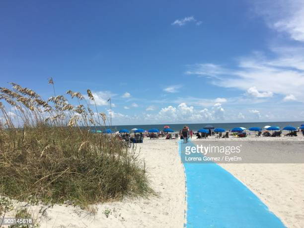 people at beach against blue sky - hilton head stock pictures, royalty-free photos & images