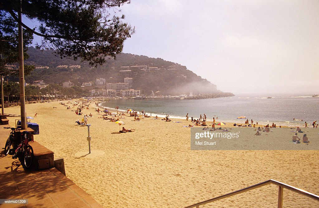 People at beach of Ilafranc, Costa Brava, Catalonia, Spain : Stock Photo
