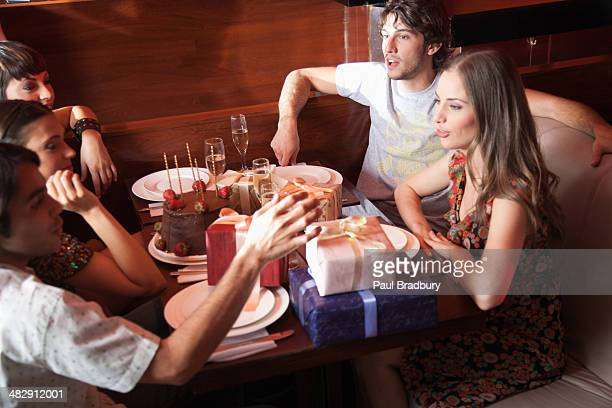 People at birthday party in restaurant