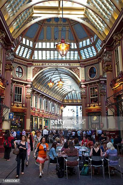 people at cafe in leadenhall market. - leadenhall market stock pictures, royalty-free photos & images