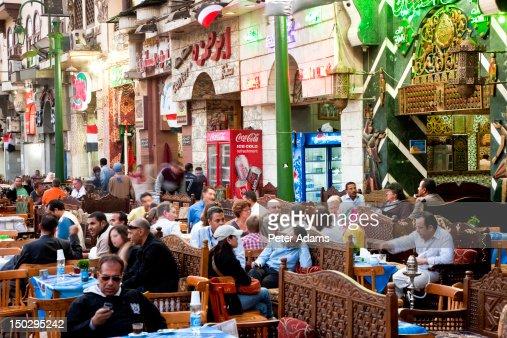 People At Cafes Khan Alkhalili Cairo Egypt Stock Photo