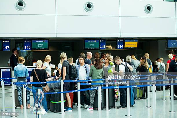 People at check-in of Condor in Düsseldorf