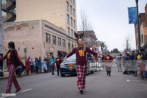 People at Christmas parade in Johnson City, Tennessee