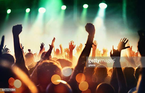 people at concert party. - music festival stock pictures, royalty-free photos & images