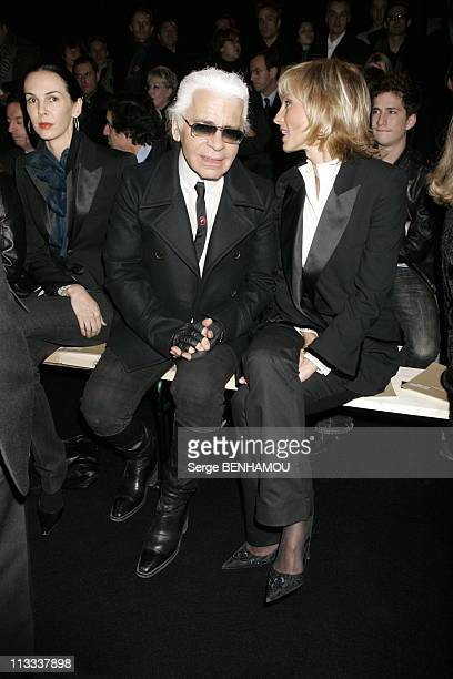People At Dior AutumnWinter 20062007 Menswear Fashion Show In Paris On January 31St 2006 In Paris France Here Karl Lagerfeld And Helene Arnault