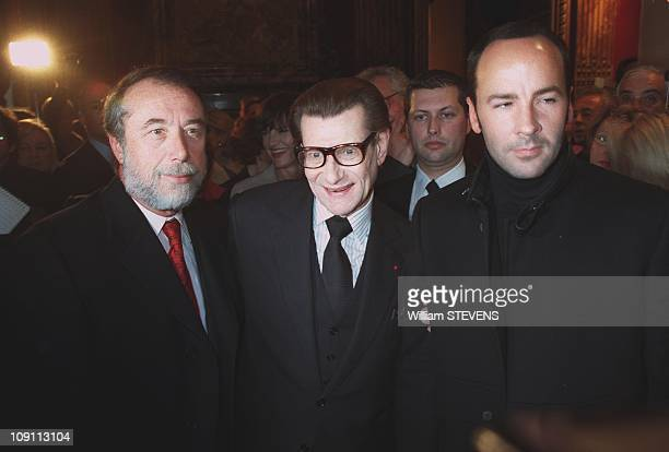 """People At Fashion Show """"Haute Couture"""" Yves Saint Laurent In Paris, France. Domenico Del Sol, Yves Saint Laurent And Tom Ford"""