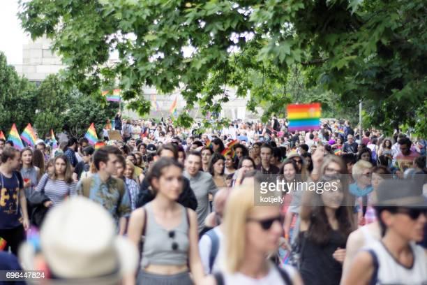 personas en el desfile del orgullo gay de sofía 10 de junio de 2017 - homofobia fotografías e imágenes de stock
