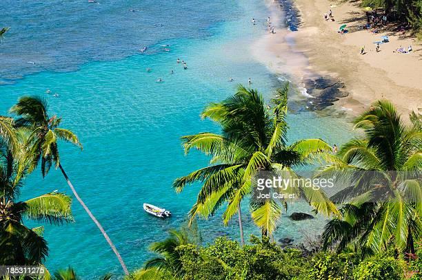 People at Ke`e Beach on Kauai