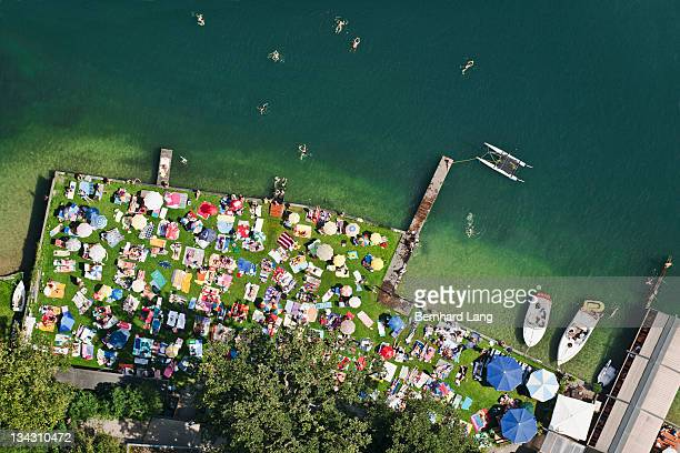 People at lake, aerial view