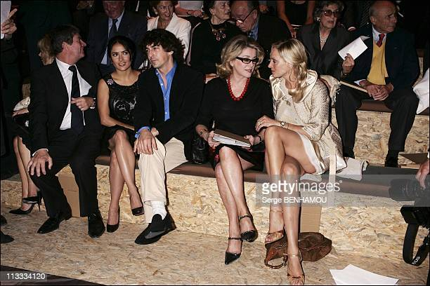 People At Louis Vuitton Ready To Wear SpringSummer 2006 Fashion Show On October 9Th 2005 In Paris France Here Salma Hayek And Her Friend Catherine...