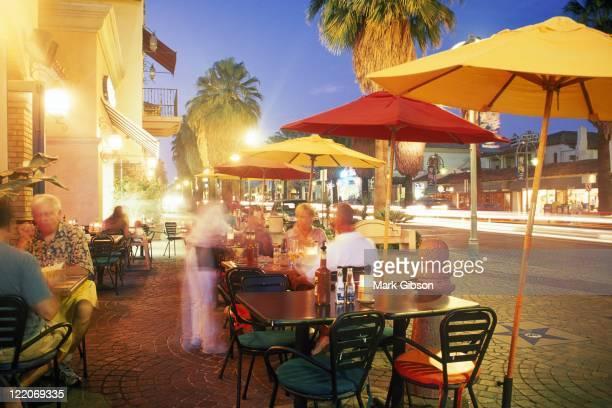 People at Mercado Plaza dusk