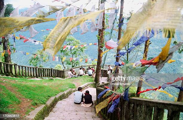 People at Namnung view point enjoying the view of Gangtok Sikkim India