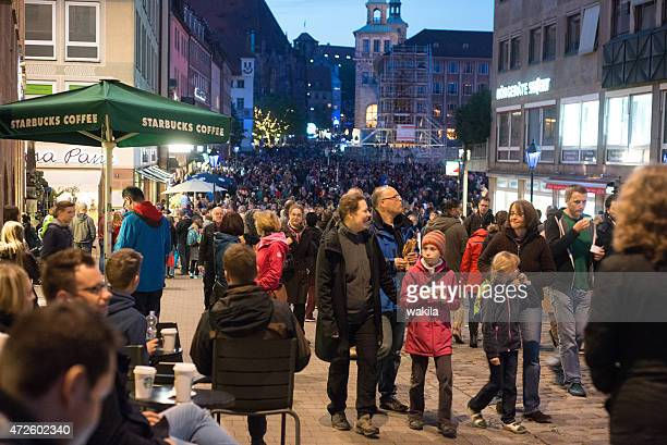 "people at night in nuremberg at event ""blaue Nacht"" 2015"