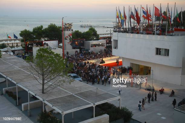 People at Palazzo del Cinema wait the winners ceremony during the 75th Venice Film Festival on September 8 2018 in Venice Italy
