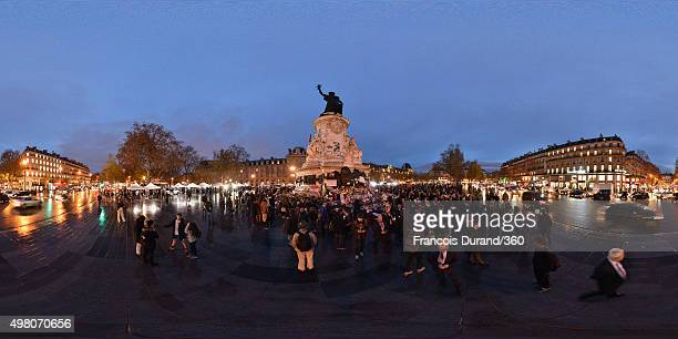 People at Place de la Republique on November 19 2015 in Paris France Following the terrorist attacks in Paris last week which claimed 130 lives and...