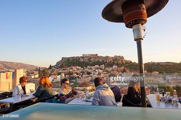 People at Rooftop Bar in Athens