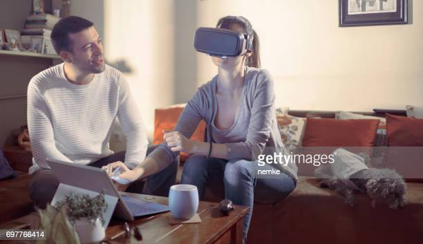 people at smart home - head mounted display stock photos and pictures
