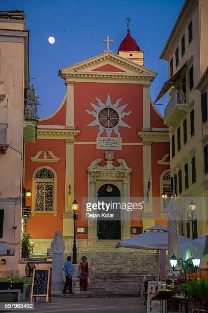 People at stairs of Saint Spiliotissa church, Corfu, Greece