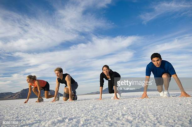 people at starting line on salt flats, utah, united states - the hobbit: an unexpected journey stock pictures, royalty-free photos & images