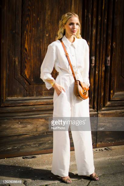 People at Street Style At Etro Fashion Show February 21 Milan Fashion Week Fall/Winter 20202021 21 February 2020 Milan Italy