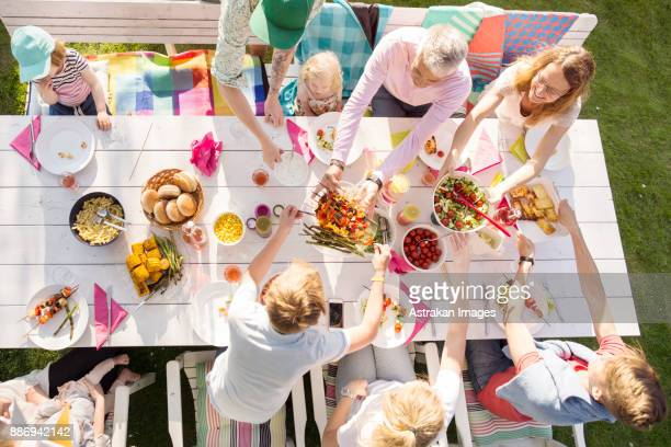 People at table at garden party seen from above